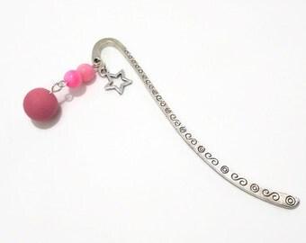 Pink Star Bookmark - Polymer Clay Bead - Hot Pink River Shell  - Beaded Tibetan Silver Mini Shepherds Hook Book Mark - Nautical