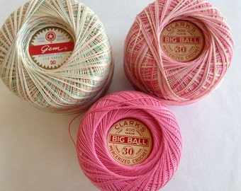 Crochet Thread –  Pastel Pink and Green Variegated, Pink Variegated and Pink  – Clark's & Gem Brand – Destash - Set of 3