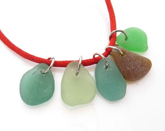 Colorful Beach Glass with Jumprings Top Drilled 5 pcs- Medium Smooth Beads Charms, Flat Rare Sea glass for Jewelry Design Supplies