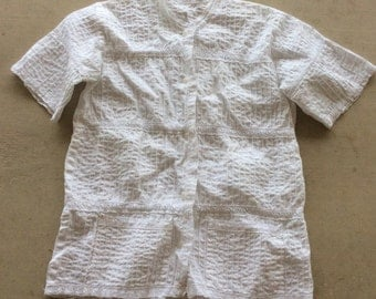 Vintage Lace White Mexican Oaxacan  pintuck Blouse
