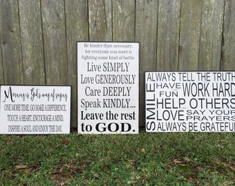 Be kinder sign, Morning Sign, Always tell the truth Sign,Family Trio of  Signs