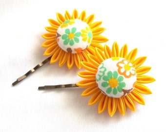 Sunny Floral Bobby Pins Fabric Flower Hair Pins Yellow Green Orange Citrus Colors