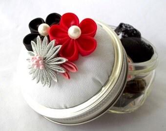 Mason Jar Sewing Kit Pin Cushion with Kanzashi Flowers Red Black Silver Pink