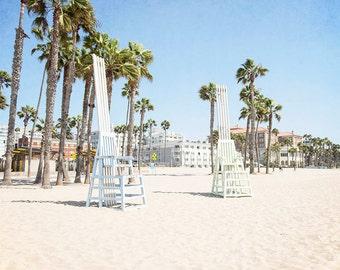 """Santa Monica, Beach Photography, California Decor, Large Wall Art, Santa Monica Beach, Beach Chairs, Palm Trees, Beach Art """"Musical Chairs"""""""