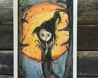 Halloween Witch with harvest Moon Illustration cute creepy 6x8 marker and watercolor sketch LuLusApple