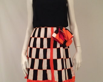 60's MOD Geometric Fortuny Pleated Black and White Checked Date Party Dress