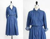 Denim Shirt Dress M/L • Denim Dress •  Denim Duster • Long Sleeve Midi Dress • Denim Button Up Dress • Denim Duster Jacket  | D727