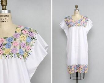 White Embroidered Dress S/M • Floral Embroidered Dress • Summer Cotton Dress • Smock Dress • White Midi Dress • Boho Folk Dress | D638
