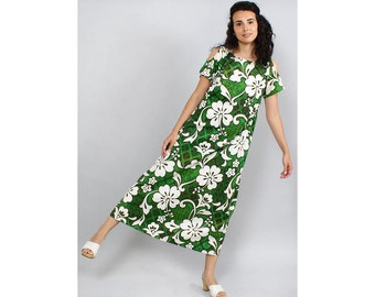 Tent Maxi Dress M/L • 60s Maxi Dress • Cutout Dress • Hawaiian Dress • Summer Cotton Dress • Floral Maxi Dress • Green Maxi Dress | D633