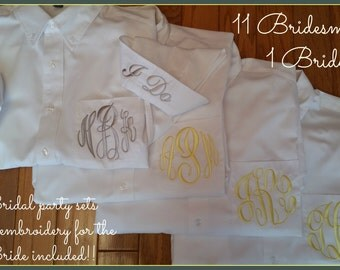 Monogrammed button down shirt. 11 Bridesmaids and 1 Bride.  Bridesmaid button down shirt, getting ready shirts.