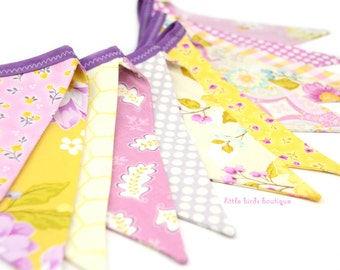 READY TO SHIP! Reusable Fabric Bunting, Banner, Pennant, Flag, Garland, Photo Prop, Decoration, Promenade, Yellow, Purple, Floral
