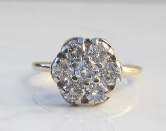 Vintage Solid 14K Yellow Gold 1.07 Carat Diamond Flower Halo Cluster Alternate Engagement Ring Size 6.25