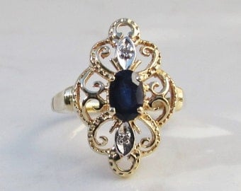 Estate Sapphire and Diamond 14k Solid Yellow Gold Filigree Ring, Size 6.25