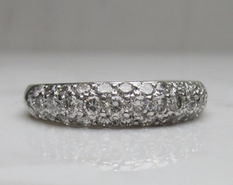 Vintage Solid Platinum and Pave Diamond Wedding Anniversary Stacking Band, Size 7.25 - Almost 1 Carat in Total Diamond Weight