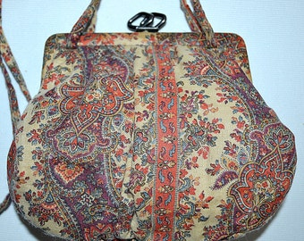 Vintage Antique Small Ivory Coral and Teal Cotton Paisley Shoulder Bag Purse