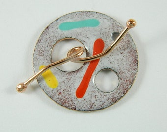 Enameled Focal Toggle Clasp with Copper Wire Toggle Bar-4
