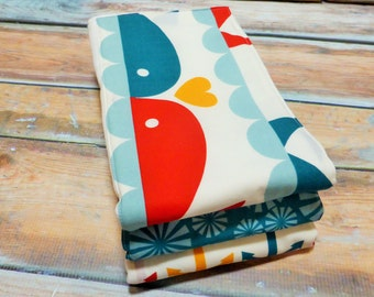Baby Burp Cloths-Gender Neutral Burp Cloths - Set of 3-Whale Story- READY TO SHIP