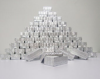 100 Pack - Silver Foil Boxes (2.5 x 1.5 x 1 in.) Cotton Filled Boxes