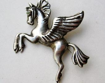 Vintage Sterling Silver Pegasus Horse Brooch Pin