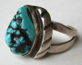Vintage Mens Sterling Silver Turquoise Navajo American Indian Ring size 10