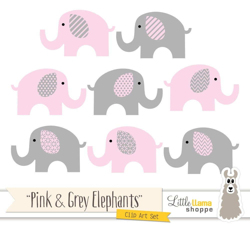 Pink and Grey Elephants Clipart Pink & Gray Nursery