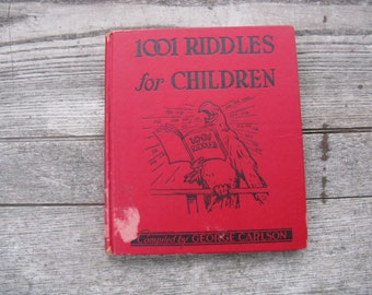 1001 riddles for children 1949 hardcover george l carlson illustrated mid century childrens book