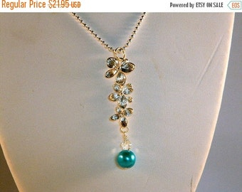 On Sale Ball Chain Necklace with Orchid Pendant and Aquamarine Glass Pearl
