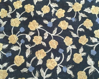 Flowered Polyester Light Weight Gold and Blue on Black Fabric 3 1/2 Yards X0621