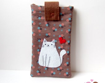 Adorable cat with heart smartphone pouch, iphone case, android phone sleeve Mobile phone pouch brown flowers