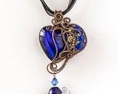OOAK Dark blue steampunk heart wire wrapped pendant