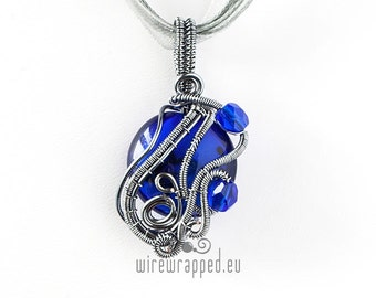 OOAK blue and grey wire wrapped pendant
