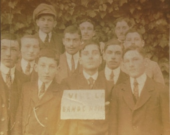 Old French Photograph - Group of Young Men 'Vive La Bande Noire'