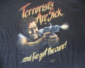NOS Vintage 80's 3D Emblem Terrorist Are Sick and I have the Cure Military Biker Trucker NEW 1987 Deadstock T Shirt L
