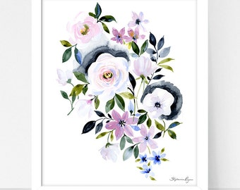 Art Print Hydrangea and Parisian Bouquet