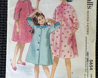 Vintage McCall's 5654 Girls Robe Sewing Pattern Size 7 UNCUT