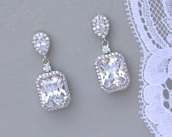 Square Crystal Earrings, Bridal Crystal Earrings, Wedding earrings, Bridal Chandelier Earrings,  EMILIA TDC