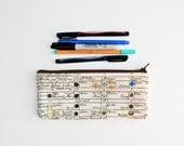 Vintage Color Chart Pencil Case - Zipper Pouch - Makeup Bag - Back to School Supplies - Paint Palate