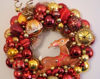 "Vintage Christmas Ornament Wreath Kitschmas ""Christmas Time"" with Reindeer Gold and Burgundy Shiny Brite Blow Mold"