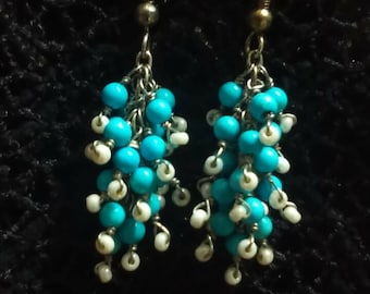 Gift for Her, Wire Wrapped Turquoise Earrings.