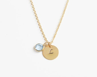 Birthstone & Initial Necklace | Birthstone Necklace | Gold Monogram Necklace | Layering Necklace | Bridesmaids Necklace