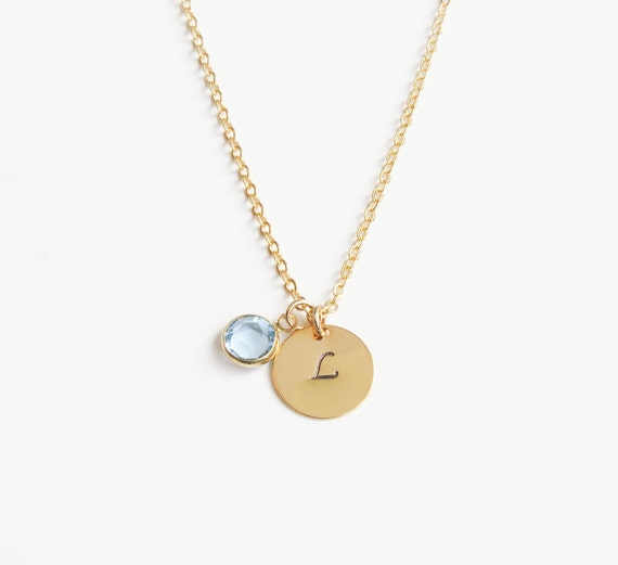 Birthstone & Initial Necklace
