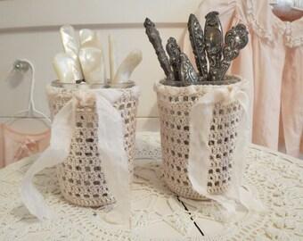 Crocheted jar cozies