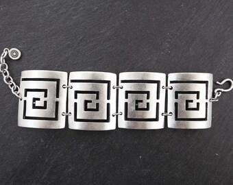 Fretwork Square Spiral Ethnic Silver Statement Cuff Bracelet - Authentic Turkish Style
