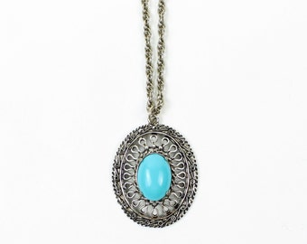VINTAGE Turquoise Medallion Necklace 1970s Silver Chain Long