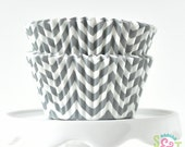 Chevron Gray BakeBright GREASEPROOF Cupcake Liners Baking Cups | ~30 count