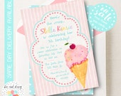 Vintage Ice Cream Invitation, Ice Cream Birthday Invitation, Ice Cream Party, Girl First Birthday, Girl Birthday, Ice Cream Invite