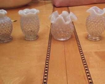Ruffled Moonstone Hobnail Milk Glass Miniature Vases- set of 4