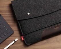 iPad Pro 12.9 inch Case cover Sleeve 100% Wool Felt, Italian Vegetable Tanned Leather
