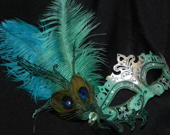 Metal Mask in Shades of Turquoise, Teal and Silver with Peacock Accents - Laser Cut Metal Mask