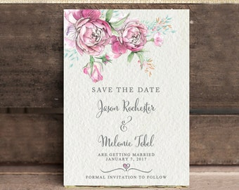 Save The Date Announcement - Sketched Rose - Digital Download - Printable - Personalize